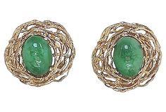 1960s Panetta Modernist Faux-Jade Cabochon Earrings