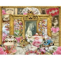 """Tea:  """"Tea Time"""" puzzle, by White Mountain Puzzles. Enjoy a cup of tea, complete with roses, fine china, strawberries, and tempting sweets. Ancestral portraits add to the nostalgic vignette. Made in USA. 100% recycled materials. 1000 piece jigsaw puzzle. Artist, Lori Schory."""