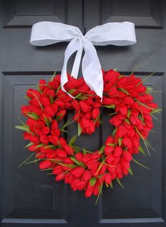 Valentine's Day heart wreath with red tulips. #heartandsole #vday #wreaths