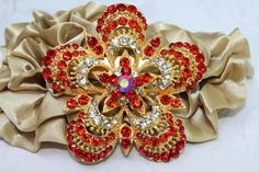 Vintage style Sparkling Ruby Red Glass Brooch Pin by rosecarmen, $8.50