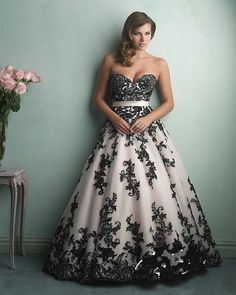 Black and White A Line Wedding Dress - Country Dresses for Weddings Check more at http://svesty.com/black-and-white-a-line-wedding-dress/