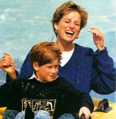 Diana, Princess of Wales and Harry. Love her smile, and that she took the boys to amusement parks and McDonald's. Diana was so down to earth and lovely.