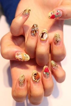 I'd actually get these nails Beauty And The Beast Nails, Beauty And Beast Wedding, Disney Beauty And The Beast, Dope Nails, Get Nails, How To Do Nails, Hair And Nails, Disney Princess Nails, Disney Nails