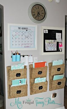 Family Command Center on a budget by Miss Frugal Fancy Pants would work great in a Home Office Space.