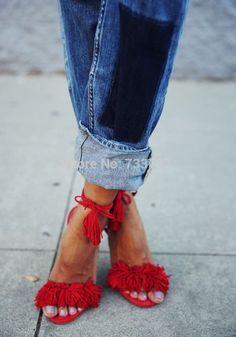 Red suede tassel or pom Pom sandals. Too cute! http://m.dhgate.com/product/genuine-leather-brand-aquazzura-tassel-fringe/371974944.html