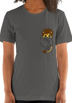 Cute Lion Pocket T-shirt for women - Cuddlezilla Cute Lion, Funny Outfits, Funny Animal, Cute Designs, T Shirts For Women, Pocket, Tees, Mens Tops, Fashion