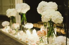 Tall Hydrangea Centerpieces. love the idea of the table set up