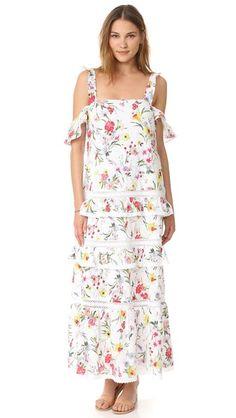 Nicholas Многоуровневое макси-платье N/Nicholas Daffodil с вышивкой