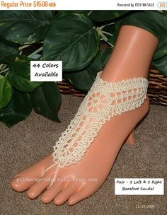 Gorgeous crochet women's foot jewelry.  These barefoot sandals make great body jewelry for bridesmaids.  Being hippie boho toe anklets these toe sandles are sure to please.... #wedding #bride