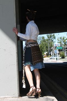 Jean Genie wrap skirt by ThreadFarm.  one of a kind. made from repurposed materials. photo by D'ete Blackshire.