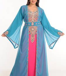 Buy Blue+rani georgette embroidered abaya abaya online