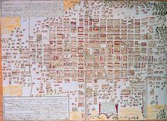 Plano de la ciudad de Mexico con la división en siete cuarteles por José de Villaseñor y Sánchez. Archivo General de Indias,MP-MEXICO,178