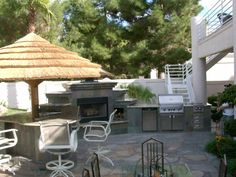 outdoor fireplaces las vegas | Complete Outdoor Kitchen with Fireplace | « Build Gallery