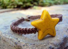 Hemp Bracelet Square Knot Macrame Brown Yellow Star by JackZenHemp, $12.00