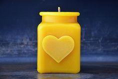 Heart Shape Beeswax Candle, Holiday Home Decor, Christmas Stocking Stuffer , Wedding Shower Gift, Hostess Gift