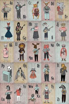 Alphabet poster--both animals and musical instruments they're playing correspond to the letter