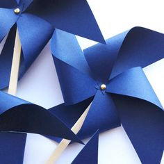 Navy Blue Pinwheel Cake Picks / Pinwheel by PicktheCake on Etsy