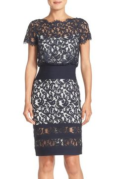Tadashi Shoji Mixed Media Blouson Dress (Regular & Petite) available at #Nordstrom