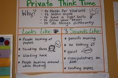 Think Time - I always teach my students that we all need some think time and not all of us think the same way.  I like this anchor chart for discussing this at the beginning of the school year.