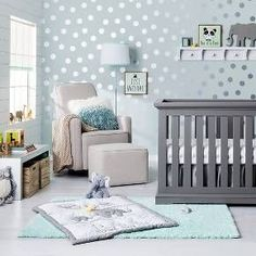"Safari Chevron Nursery Room in ""Sea Salt"" color. Luv the dots."