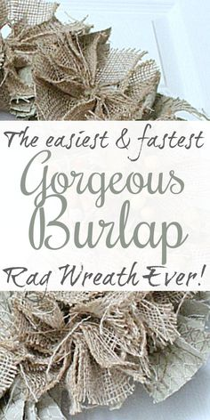 A Quick and Easy Burlap Rag Wreath Tutorial! - You can find Wreath tutorial and more on our website.A Quick and Easy Burlap Rag Wreath Tutorial! Burlap Projects, Burlap Crafts, Wreath Crafts, Diy And Crafts, Easy Burlap Wreath, Burlap Bows, Diy Wreath, Tulle Wreath, Wreath Ideas