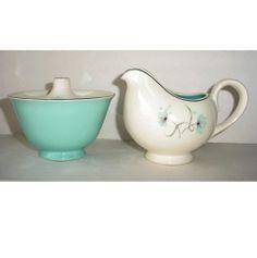 Vintage Taylor Smith Taylor Blue Lace Sugar and Creamer Mid Century | AestheticsAndOldLace - Kitchen & Serving on ArtFir