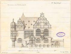 Titel   Rathaus Bonn-Poppelsdorf. Monatskonkurrenz Juli 1894 | Spalding, Otto… German Architecture, Classic Architecture, Architecture Drawings, Historical Architecture, Architecture Details, Building Concept, Architectural Antiques, Old Buildings, Antique Prints