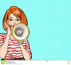 Pop art girl with megaphone. Woman with loudspeaker.Girl announcing discount or sale.Protest, meeting, feminism, woman rights,… Art And Illustration, Pop Art Background, Power Girl, Power Pop, Pop Art Women, Pop Art Wallpaper, Pop Art Girl, Girly Drawings, Stock Foto