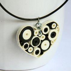 Heart Pendant Retro Circles with Niobium ring by HoneysHive. $33.00, via Etsy.
