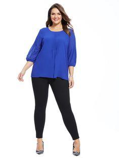 Plus Size MODAMIX Pleat Front Blouse In Mazarine Blue