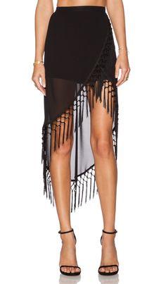 RISE OF DAWN Gypsy Dancer Tassel Skirt in Black   REVOLVE