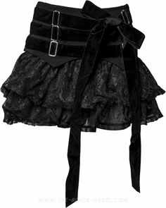 Short girls skirt by Sinister, with lace detail and three rows of velvet ribbons.