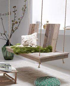 wood swing and grass green throw: outdoor-inspired decor. cute for posing