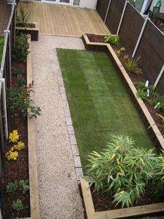 Glasnevin Decking Project This garden has a beautiful natural feel, comprising a raised timber sleeper bed and a grade A rolled lawn. < < Back To Garden Design Gallery Backyard Ideas For Small Yards, Small Backyard Landscaping, Large Backyard, Landscaping Ideas, Small Back Gardens, Back Garden Design, Garden Projects, Land Scape, Garden Inspiration