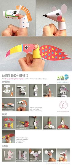 Free Finger puppet printables #kids #crafts ... From 'Kids Thirteen' downloads: http://kids.thirteen.org/downloads/ Fingerpuppen aus Papier