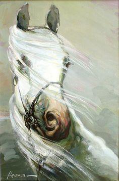 "Saatchi Online Artist: Sergej Hahonin; Oil, 2011, Painting ""Lipizzan"""