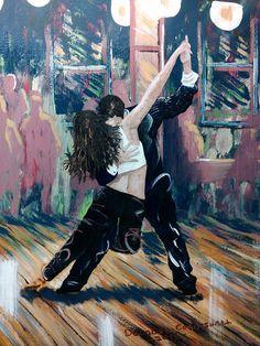 Fine art giclee print of tango salsa dancers by CoggeshallArt