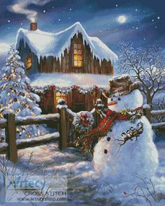 Artecy Cross Stitch - Woodhouse Christmas Cross Stitch Pattern to print online.