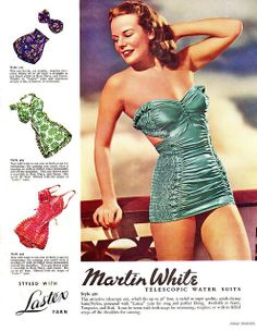 Martin White Telescopic Water Suits, 1940s. #vintage #swimsuits #ads #summer #1940s color photo print ad model magazine bathing suit beach wear blue green red 40s
