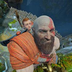[God of War] Kratos after telling a dad joke to Atreus. God Of War Game, Kratos God Of War, Spartan Warrior, War Comics, Cute Comics, Dad Jokes, Memes, Mythology, Cool Pictures