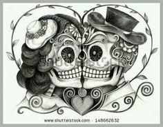 Illustration about Art design skull wedding day of the dead festival hand pencil drawing on paper. Illustration of festival, design, death - 56472398 Skull Couple Tattoo, Couple Tattoos, Love Tattoos, Tatoos, Totenkopf Tattoos, Hand Pencil Drawing, Tattoo Crane, Los Muertos Tattoo, Skull Art