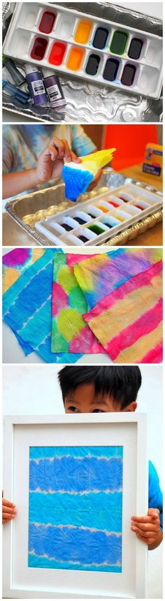 Use liquid watercolors or food coloring to make this unique dip dyed kids wall art project. Kids will have so much fun and the results are stunning! via @diy_candy