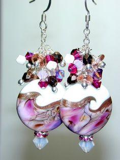 SALE JBB Wicked Girly Pink Purple Goldstone HANDMADE Lampwork BEAD Earrings via Etsy