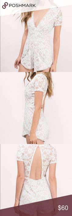 White and Nude Lace Romper White lace with nude backing romper. Romper is perfect for summer time and has a sexy yet classy back cutout! NWOT. Tobi Dresses Mini