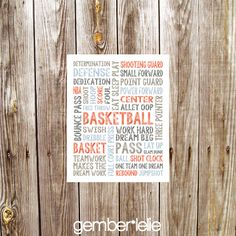 Basketball | Household Art | Wall Art | Subway Art | 5x7 | 8x10 | 11x14 by gemberlelie on Etsy