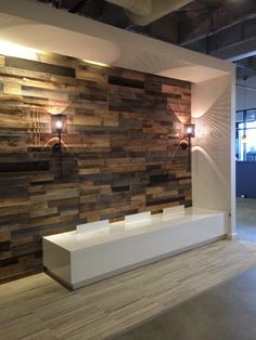 Give your building project a warm and unique look with a patent pending reclaimed pallet wood wall design. Order the Sustainable Lumber wall panels at GHS. Pallet Wall Bathroom, Diy Pallet Wall, Diy Pallet Projects, Wood Projects, Pallet Ideas, Pallet Wood Walls, Faux Wood Wall, Rustic Wood Walls, Art Mural Palette