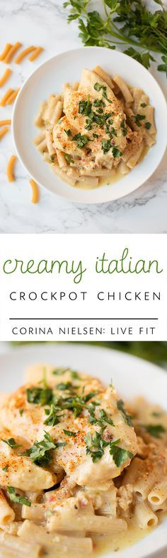 Looking for a quick and easy weeknight slow cooker meal?  Check out this healthy creamy Italian crockpot chicken by: Corina Nielsen- Live Fit