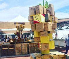 giant bunch of grapes made from wine boxes from local wineries for the 2018 Swartland Heritage Festival. all the decorations were constructed from upcycled cardboard wine cases. Wine Boxes, Wine Case, Wineries, Upcycle, The Past, Cases, Decorations, Canning, Wine Cellars