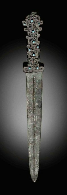 AN INLAY-DECORATED BRONZE DAGGER -  SPRING AND AUTUMN PERIOD (770-476 BC)