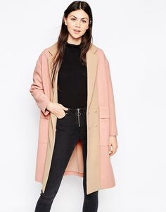 Image 1 of ASOS Coat with Panelled Front